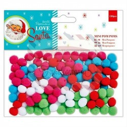 Mini Pom Poms 120 pezzi Love Santa