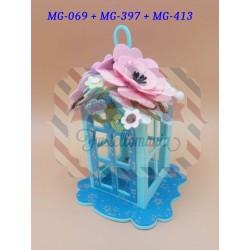 Fustella XL Lanterna cornice con fiore e tetto 3-D