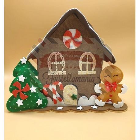 Fustella A4 doppia + L Casetta gingerbread e cornice maxi