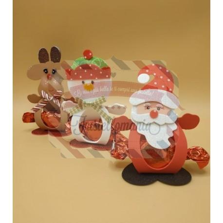 Fustella XL Porta dolcetti natalizio Renna Babbo Natale e Pupazzo di neve