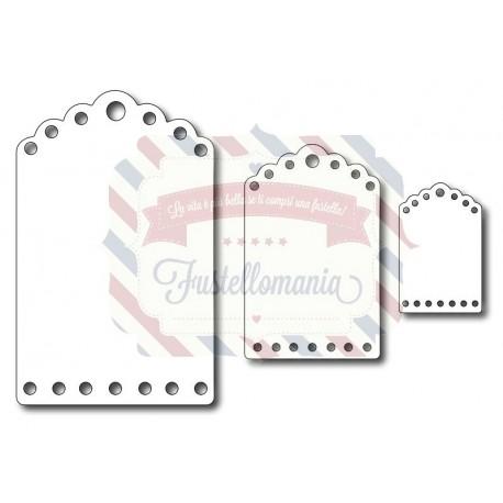 Fustella metallica Etichette Tag 3 misure