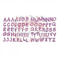 Fustellati in fommy adesivo glitterato Alfabeto Lettere adesive 2 fogli colore porpora