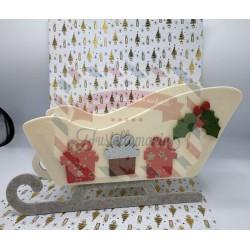 Fustella doppia XL Slitta Babbo Natale con regali e vischio