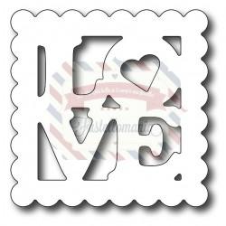Fustella metallica Francobollo Love