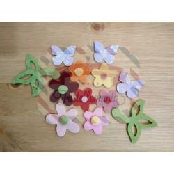 Fustella M Fiori farfalla e foglia