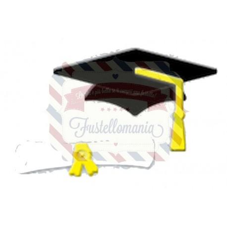 Fustella metallica Cappello laurea con diploma con cordini