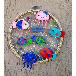 Fustella M Mare con tartaruga marina pesciolino e medusa
