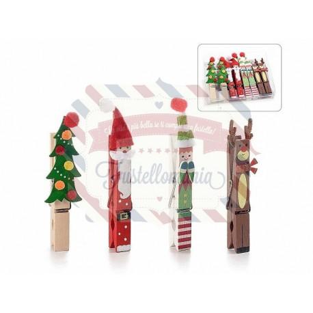 Set 8 mollette natalizie in legno colorato