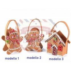Borsetta gingerbread in panno modello a scelta