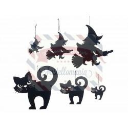 Set 6 pezzi decorazioni Halloween in panno nero varie misure