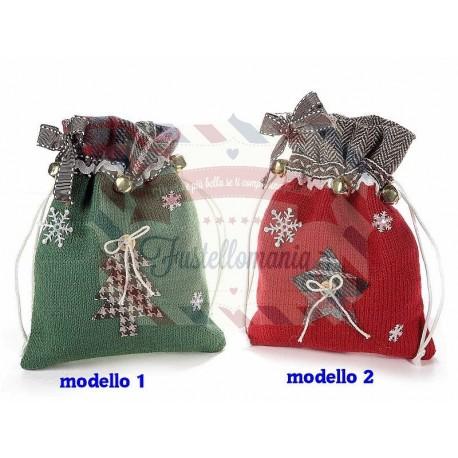 Sacchetto in maglia natalizio con decori modello a scelta