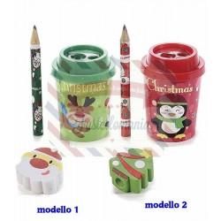 Temperino natalizio con matita e gomma modello a scelta