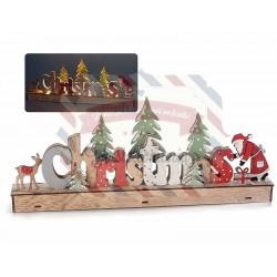 Scritta natalizia in legno con Babbo Natale e luci led