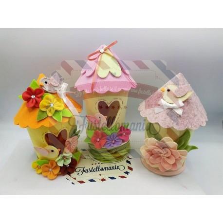 Fustella doppia XL Casetta uccellini con fiore e uccellino kit 2 fustelle
