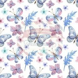 Tessuto per mascherine Interlock 50x40 cm con farfalle