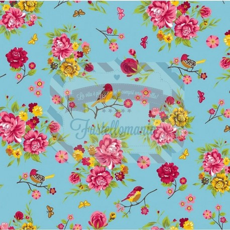Tessuto 100% cotone 45x50 cm romantic blue floral