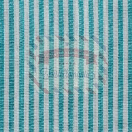 Tessuto 100% cotone 45x50 cm basic turquoise striped