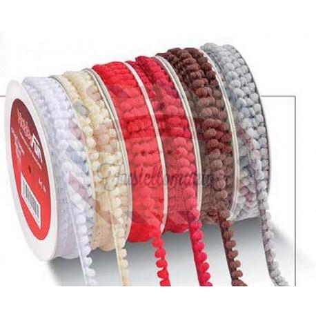 Nastro pompon bordato 1 metro colore a scelta