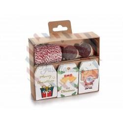 Tag packaging di Natale da 30 pezzi con rotolo di corda e 2 timbri