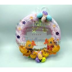 Fustella L Famiglia di paperelle con fiore ed erba