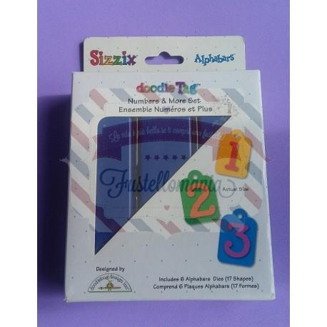 Fustella Sizzix Doodle Tag set numeri e segni