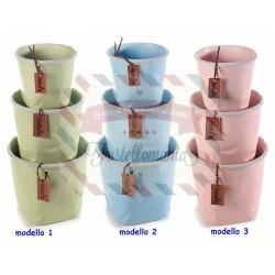 Set 3 vasi in ceramica opaca con bordo grigio chiaro modello a scelta