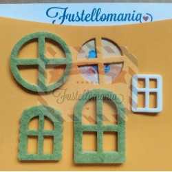 Set 5 kit essenziale porte e finestre per creare casette