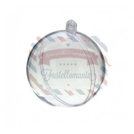 Pallina di plastica trasparente apribile 2 parti - 6 cm