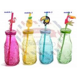 Bottiglia vetro colorato con rilievi e cannuccia Summer modello a scelta