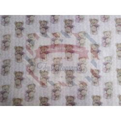 Pannolenci stampato 1mm Orsetto vintage rosa misura a scelta