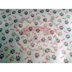 Pannolenci stampato 1mm Impronte cagnolino rosa misura a scelta