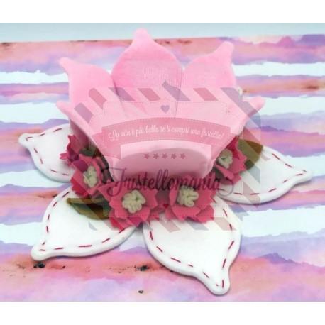 Fustella A4 Cestino porta bomboniera con fiorellino e foglia