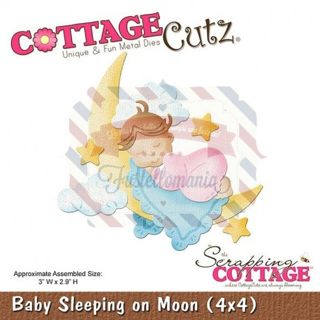 Fustella metallica Cottage Cutz Baby sleeping on moon