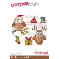 Fustella metallica Cottage Cutz Festive Owls