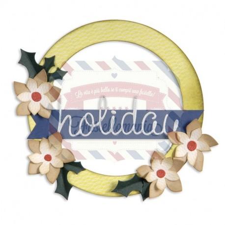 Fustella Sizzix BIGZ L Corona Wreath, Banner, Holly & Poinsettia