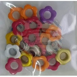 Set 25 occhielli a fiorellino colori misti