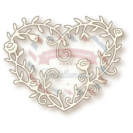 Fustella metallica Heart Rose Vine