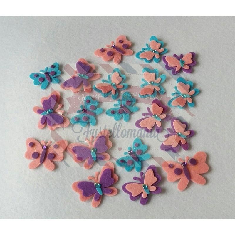 Fustellati 20 Pezzi Farfalle In Feltro Adesive