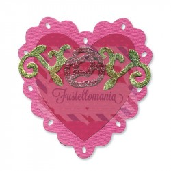 Fustella Sizzix Bigz Heart Scallop with Roses