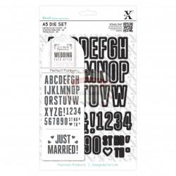 Fustella metallica Xcut A5 Wedding Alphabet & Numbers