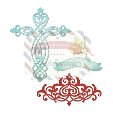 Fustella Sizzix Thinlits Cross Dove Banner & Border
