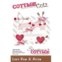 Fustella metallica Cottage Cutz Love Bow & Arrow