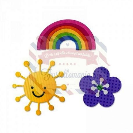 Fustella Sizzix Thinlits Fiore Arcobaleno e Sole
