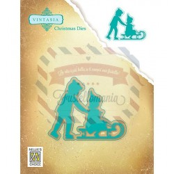 Fustella metallica Nellie's Choice Vintasia Christmas - sledging