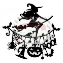 Fustella metallica Strega con scopa Halloween