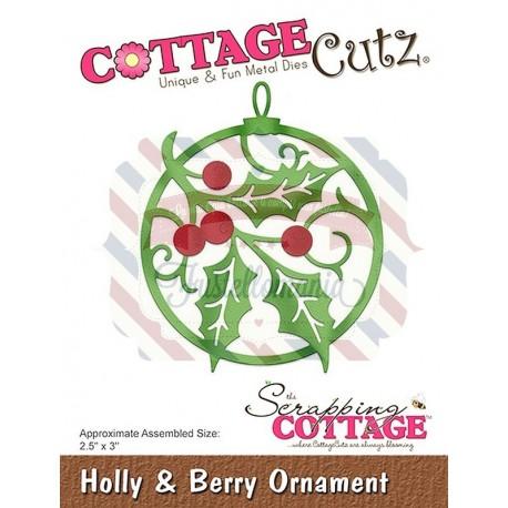 Fustella metallica Cottage Cutz Holly & Berry Ornament